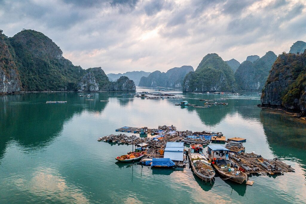 View of Lan Ha bay and a floating village